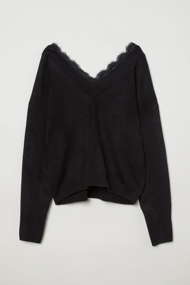Lace-trimmed jumper - Black -  | H&M