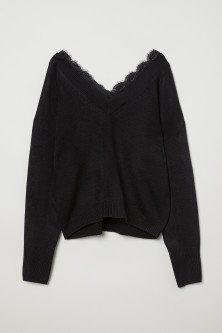 Lace-trimmed jumper
