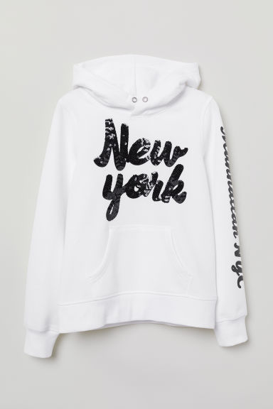 Hooded top with a motif - White/New York - Kids | H&M CN