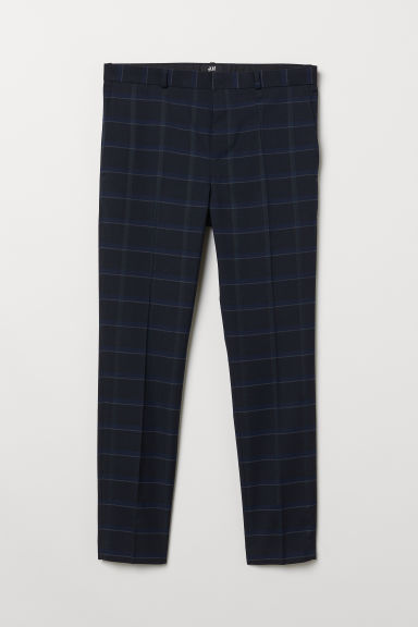 Suit trousers Skinny Fit - Blue/Checked - Men | H&M