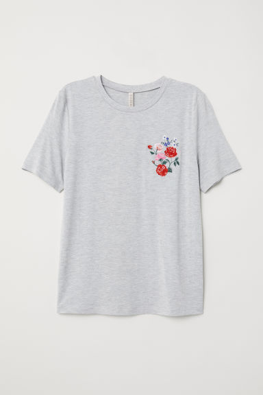 T-shirt with embroidery - Grey marl/Flowers - Ladies | H&M