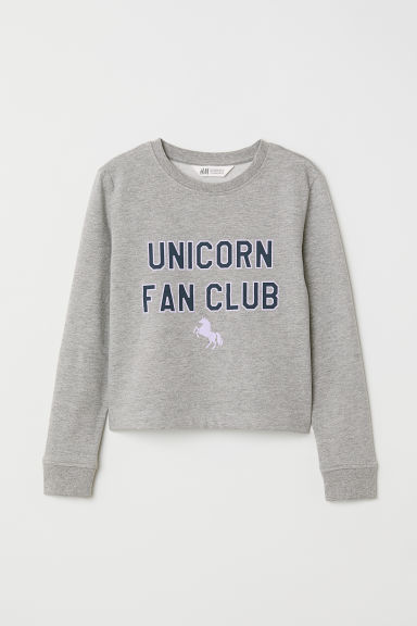 Sweater met print - Grijs gemêl./Unicorn Fan Club -  | H&M BE