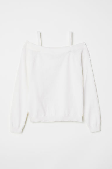 Off-the-shoulder jumper - White - Kids | H&M CN