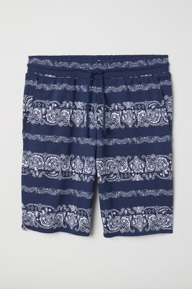 Patterned sweatshirt shorts - Dark blue/Patterned - Men | H&M