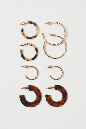 4 Pairs Hoop Earrings