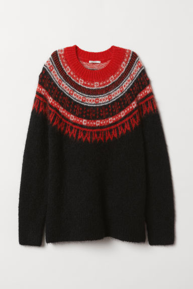 Wool-blend jumper - Black/Patterned - Ladies | H&M CN