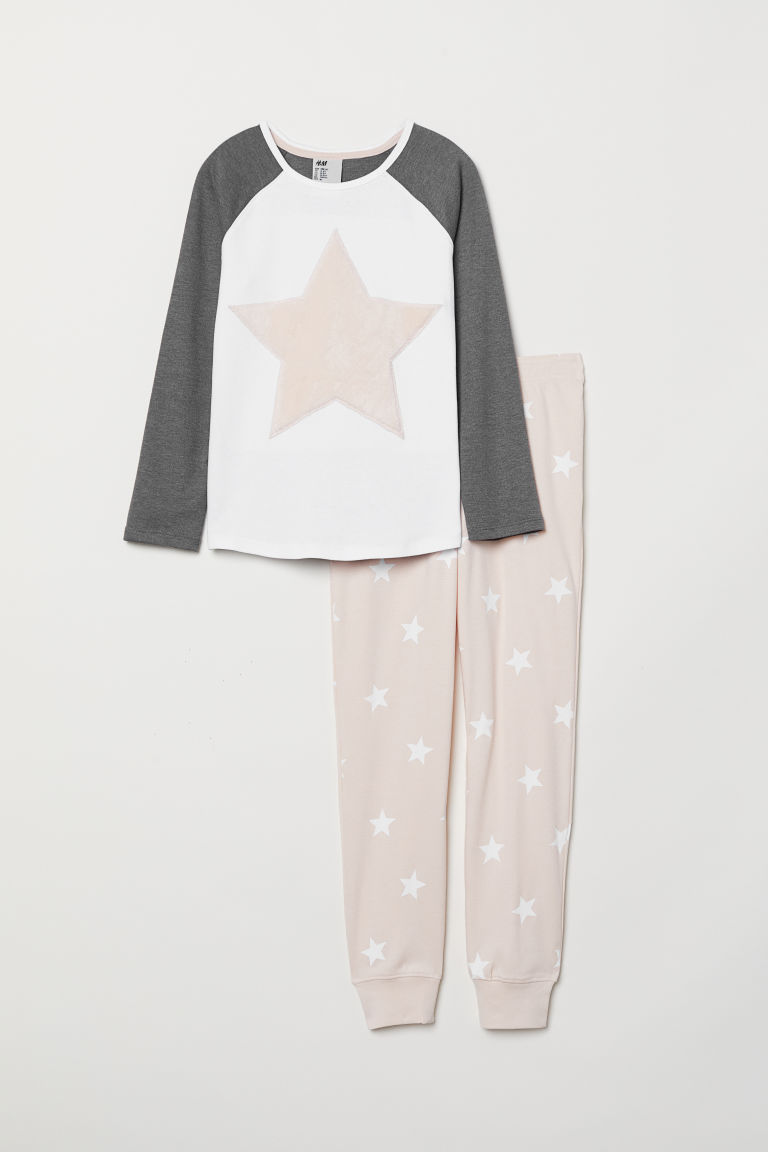 Jersey pyjamas - White/Star - Kids | H&M CN