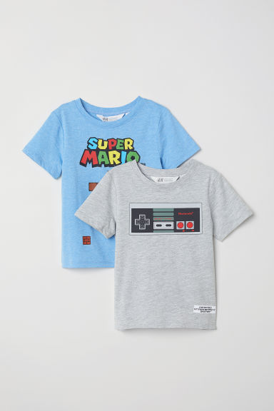 2-pack T-shirts - Light blue marl/Super Mario - Kids | H&M