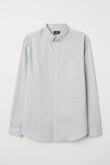 Cotton shirt Regular fit - Light grey - Men | H&M