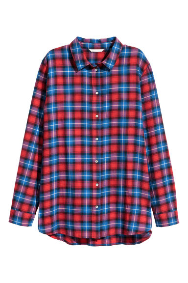 Checked cotton shirt - Red/Blue checked - Ladies | H&M CN