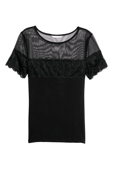 Top with lace - Black -  | H&M IE