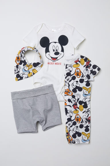 4-delige tricot set - Wit/Mickey Mouse - KINDEREN | H&M BE