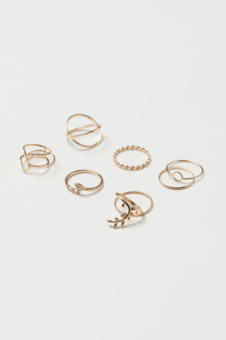 9-pack rings - Gold-coloured - Ladies | H&M GB