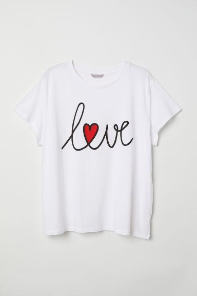 H&M+ Printed T-shirt - White/Love - Ladies | H&M