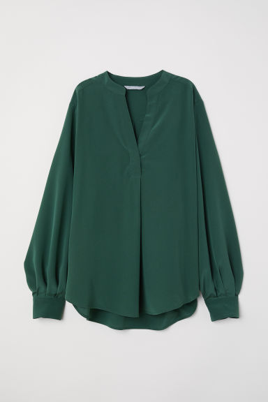 Silk blouse - Green - Ladies | H&M