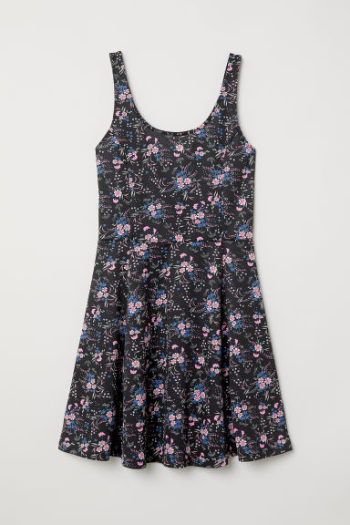 Sleeveless jersey dress - Black/Pink floral - Ladies | H&M