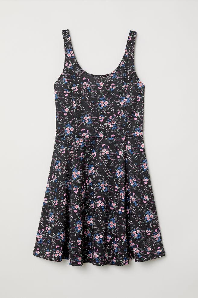 333fcd956eb9 Sleeveless Jersey Dress - Black pink floral -