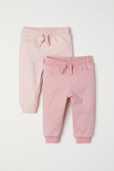 2-pack cotton joggers - Light pink/Pink - Kids | H&M CN