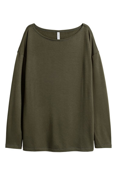 Long-sleeved jersey top - Dark green -  | H&M IE