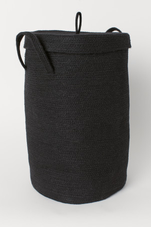 Jute laundry basket with lid