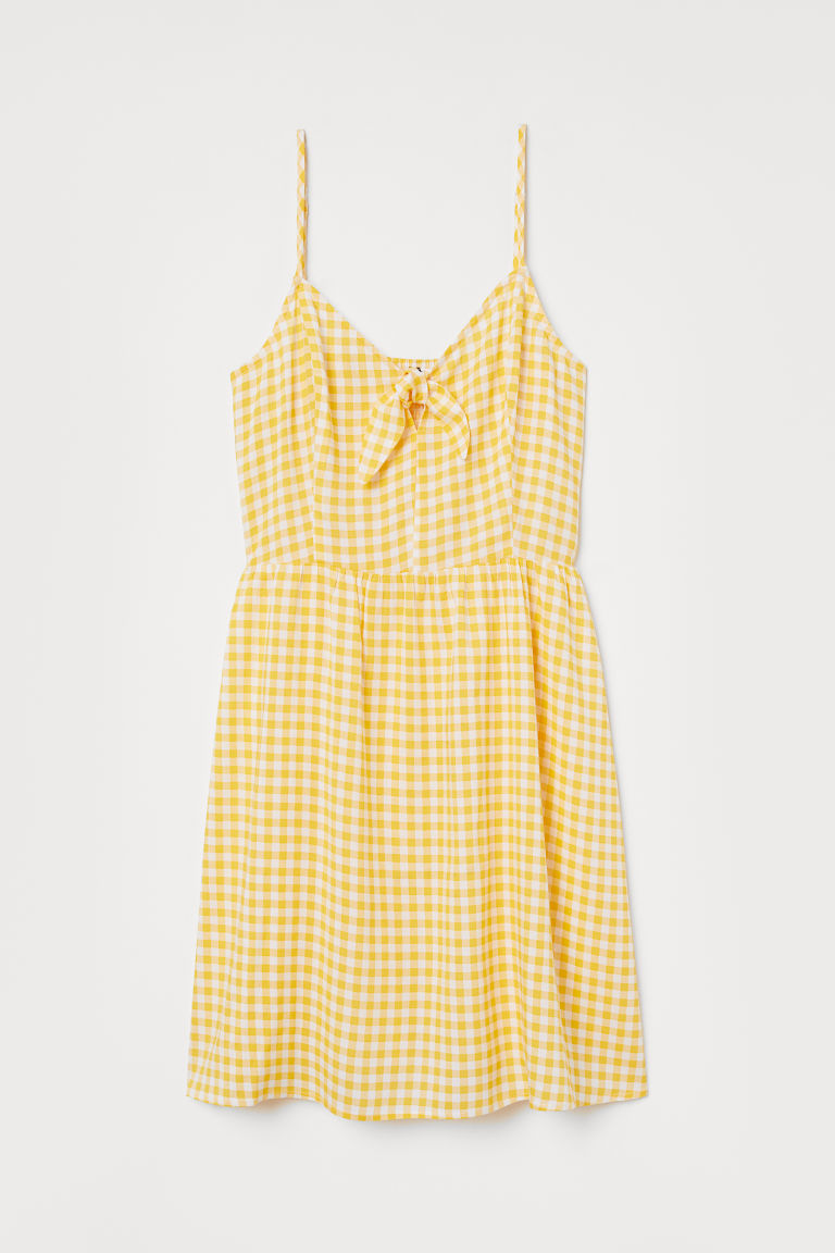 Tie-front Dress - Yellow/white checked -  | H&M US