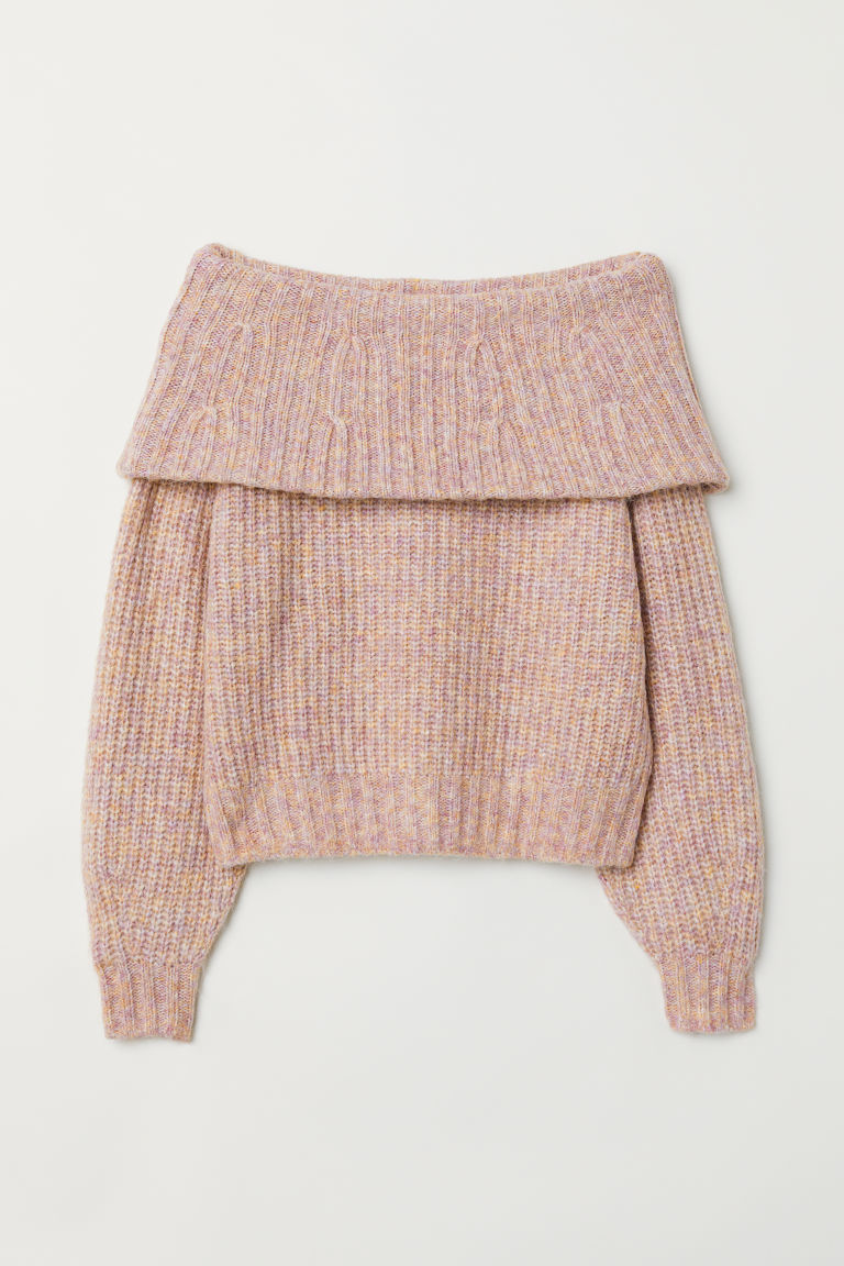 Off-the-shoulder jumper - Light pink marl - Ladies | H&M GB