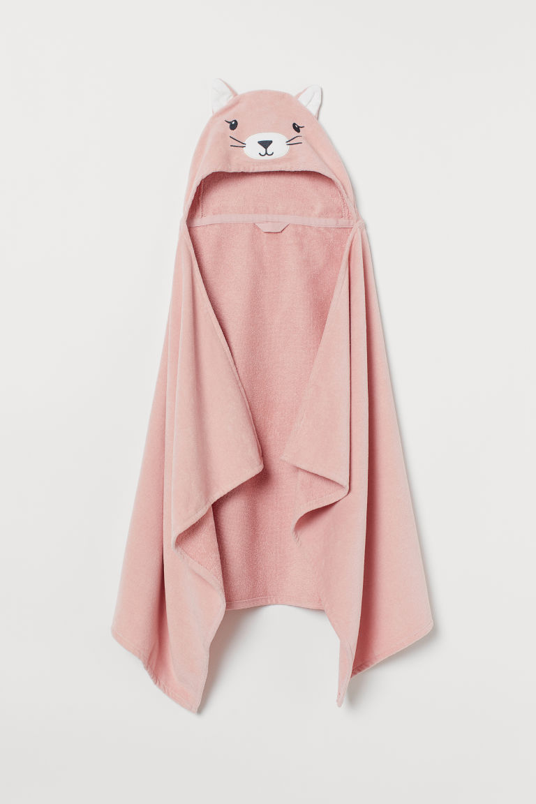 Hooded Bath Towel - Light pink/cat -  | H&M CA