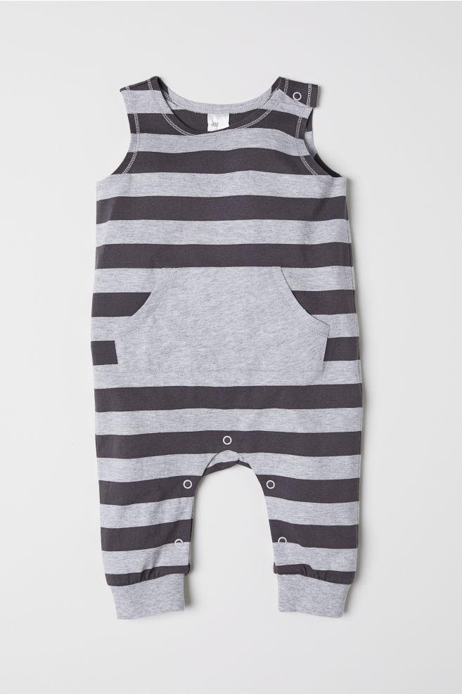 fcbe2a724b98 Sleeveless Jersey Jumpsuit - Dark gray striped - Kids