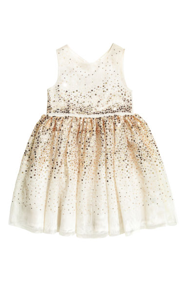 Sequined dress - White/Gold-coloured - Kids | H&M CN