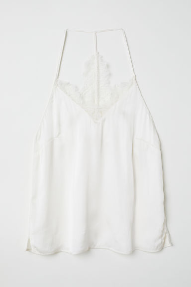 Satin top with a lace back - White - Ladies | H&M