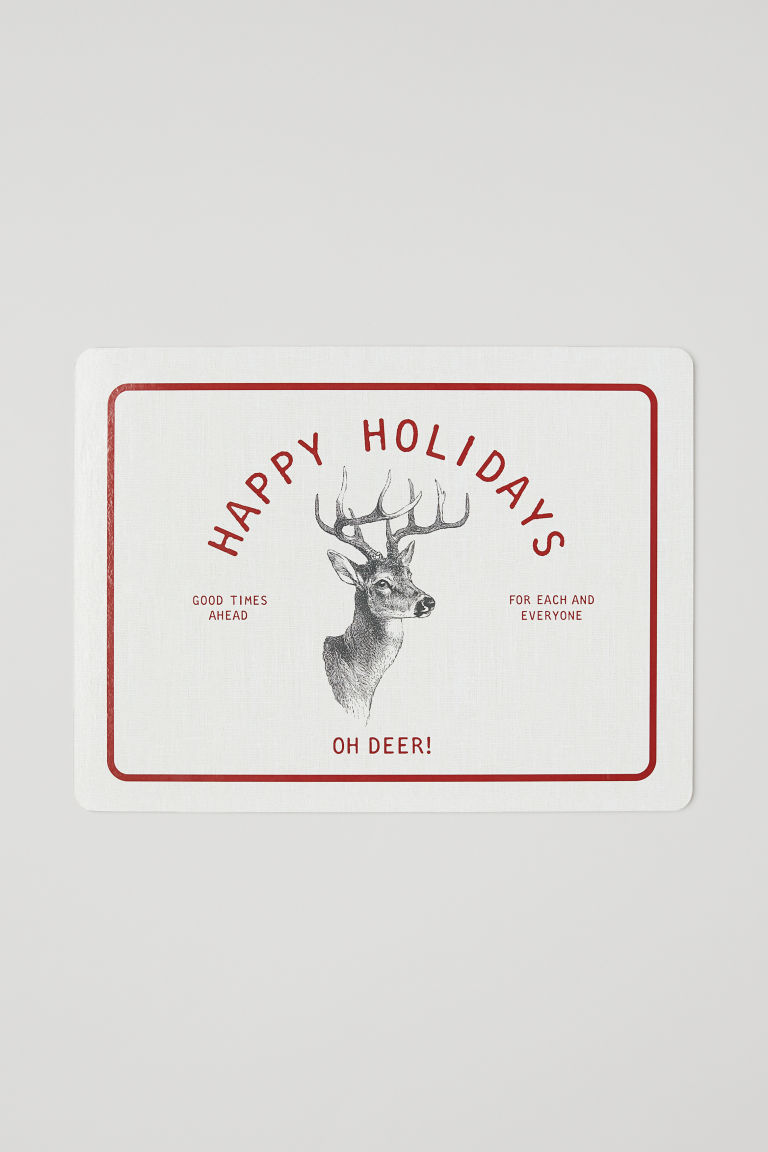 Printed table mat - Natural white/Happy Holidays - Home All | H&M 1