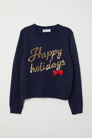 Knitted jumper - Dark blue - Kids | H&M