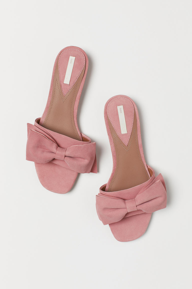 Suede Slides - Powder pink - Ladies | H&M US