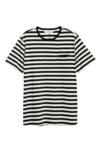T-shirt - Black/White striped - Men | H&M