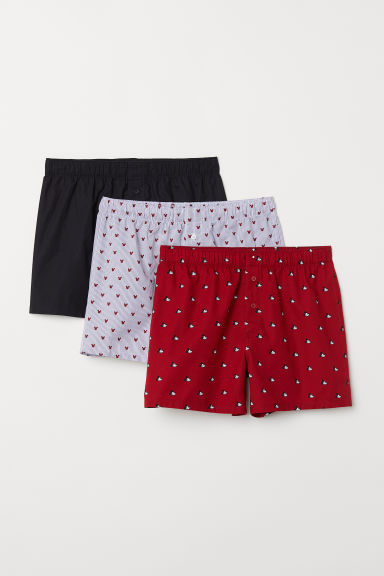 Set van 3 boxershorts - Donkerrood/Mickey Mouse - HEREN | H&M BE