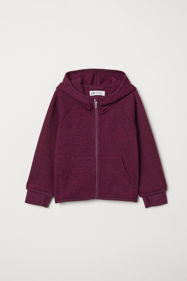Knitted fleece jacket - Dark purple marl - Kids | H&M