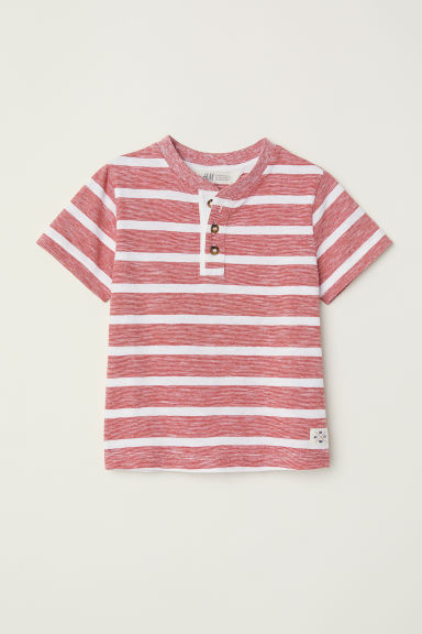 T-shirt with buttons - White/Red striped - Kids | H&M