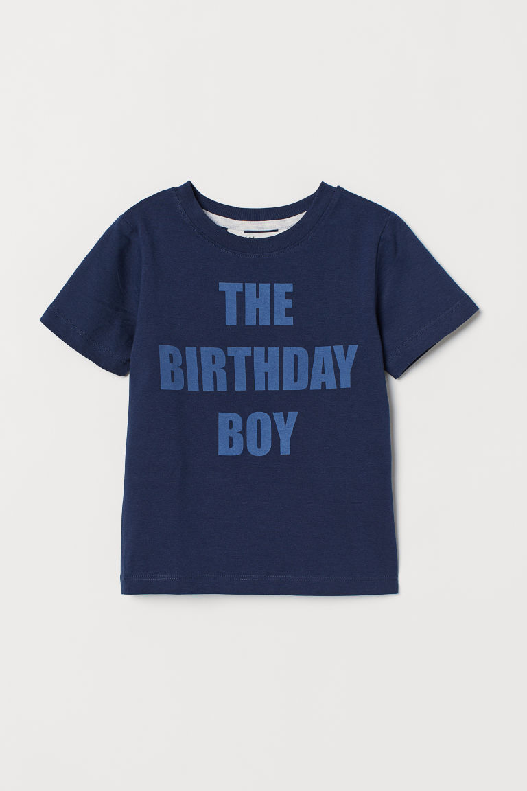 Printed T-shirt - Dark blue/Birthday boy - Kids | H&M CN