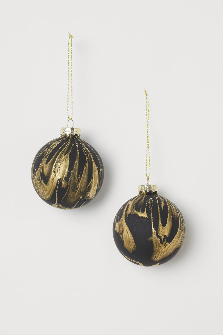 2-pack Glass Ornaments - Black/gold-colored - Home All | H&M US
