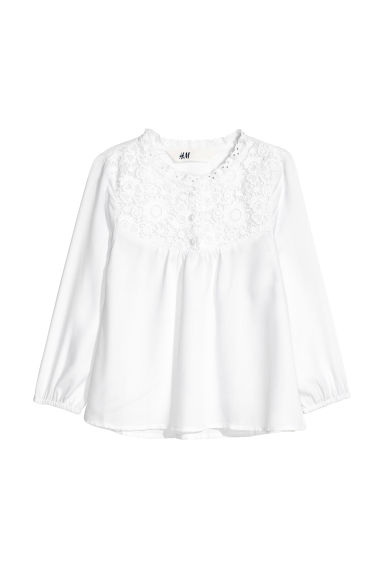 Blouse with lace - White -  | H&M