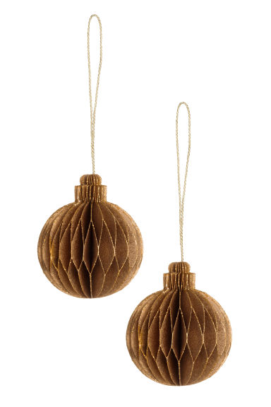 2-pack Christmas tree baubles - Gold-coloured -  | H&M CN