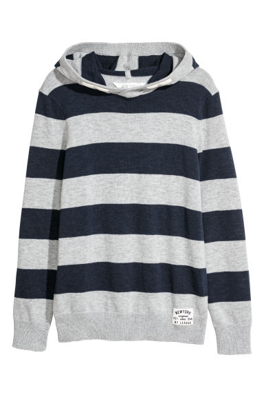 Knitted hooded jumper - Dark blue/Grey striped -  | H&M CN