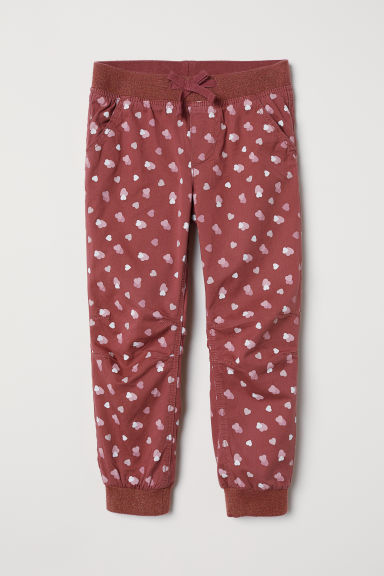Lined joggers - Dark pink/Hearts - Kids | H&M CN