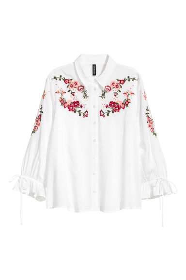 Embroidered blouse - White/Embroidery -  | H&M
