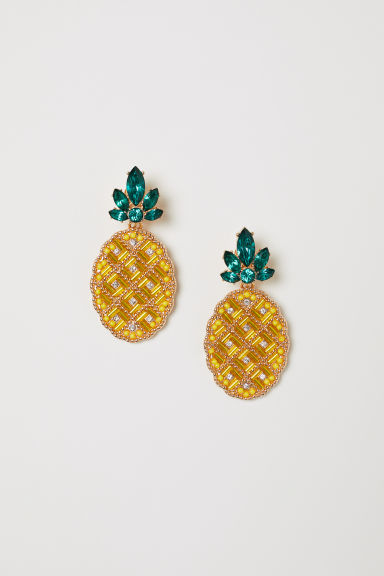 Sparkly clip earrings - Yellow - Ladies | H&M
