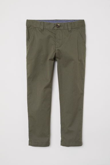Cotton chinos - Dark khaki green - Kids | H&M