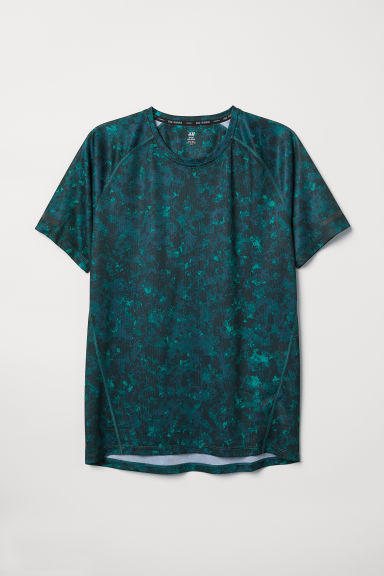 Short-sleeved running top - Dark turquoise/Patterned - Men | H&M CN