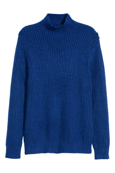 Knitted turtleneck jumper - Bright blue - Men | H&M