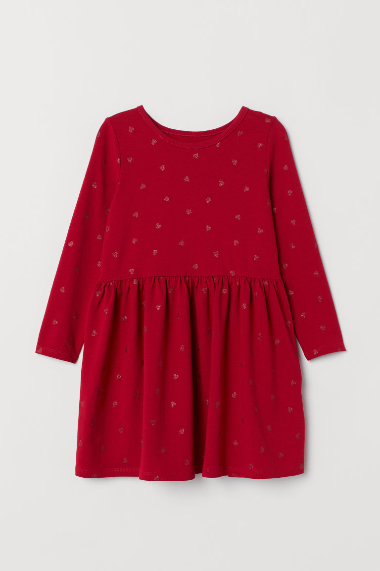 Jersey dress - Red/Hearts - Kids | H&M CN
