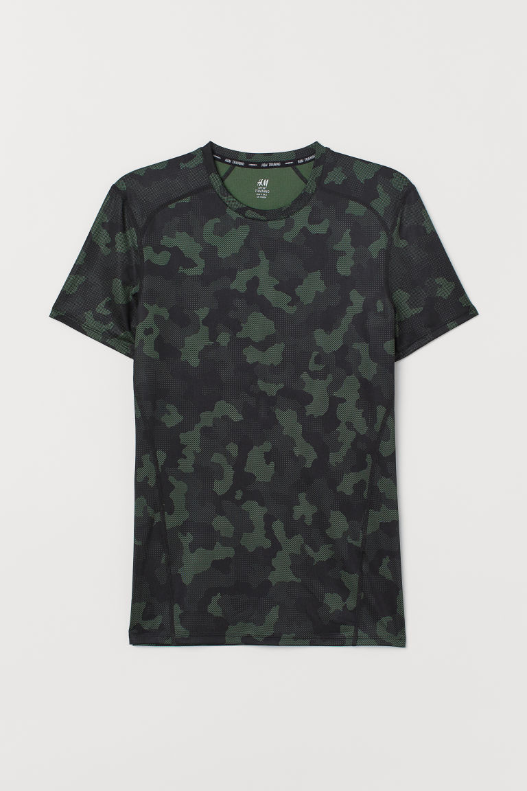 Short-sleeved sports top - Dark green/Patterned - Men | H&M IE